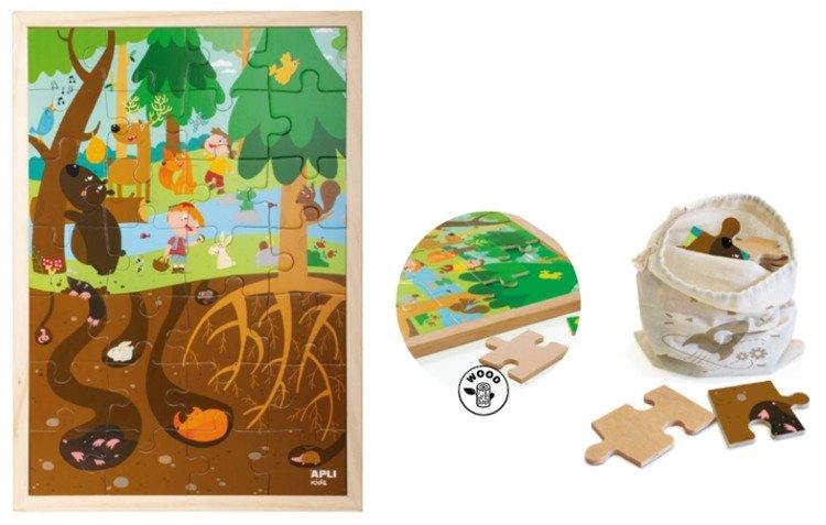 Drewniane puzzle w ramce Apli Kids - Las 4+