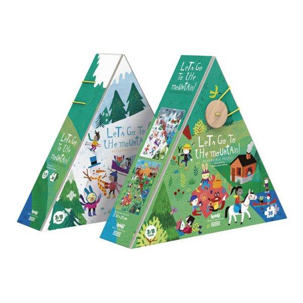 Dwustronne puzzle dla dzieci, Lato i Zima w Górach | Londji®