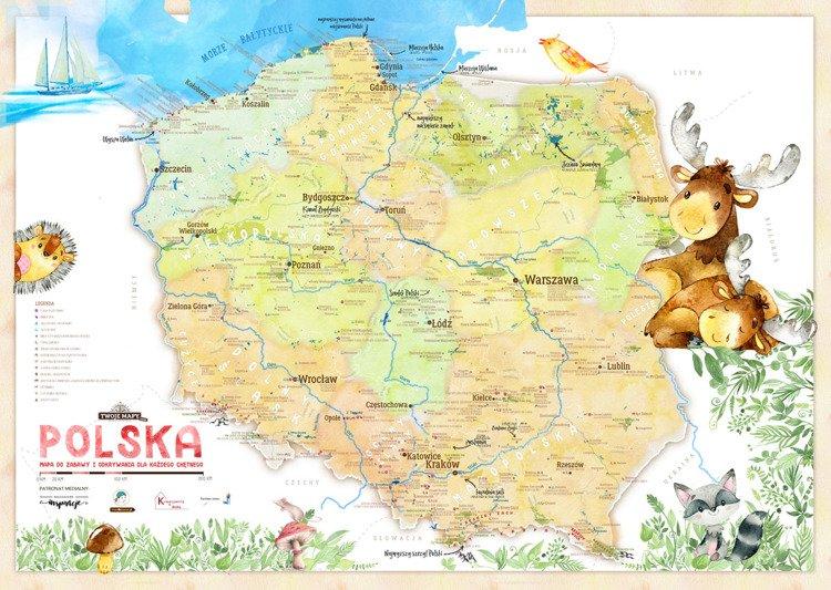 Mapa Polski Dla Dzieci Plakat