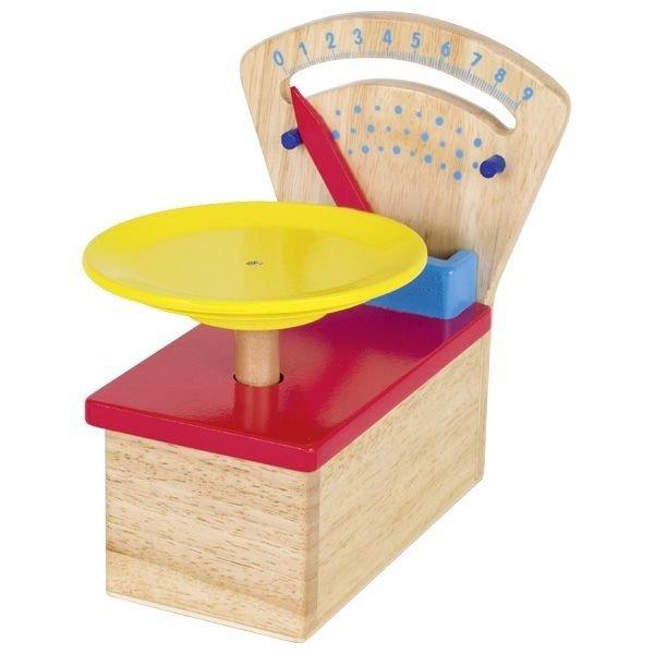 Drewniana waga dla dzieci z ruchomą wskazówką