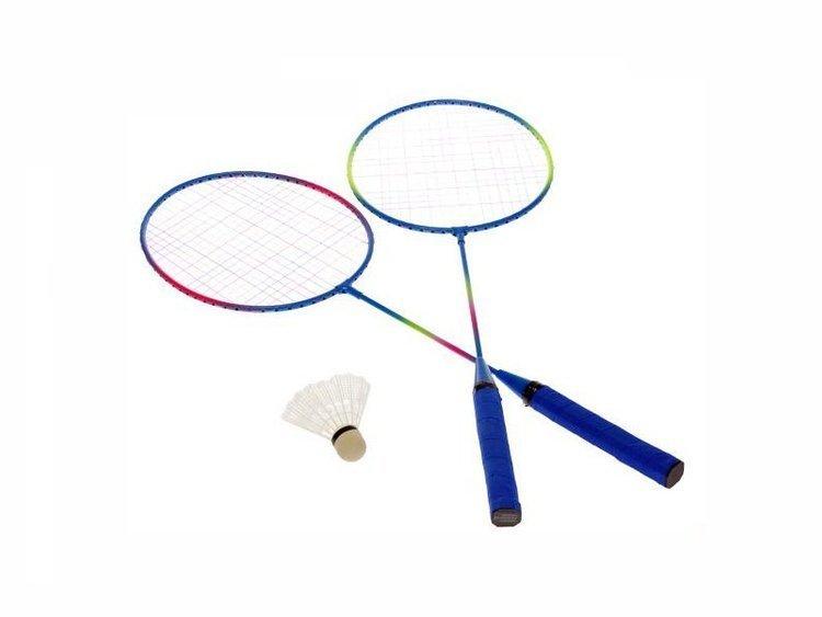 Zestaw do badmintona dwie rakietki metalowe lotka pokrowie