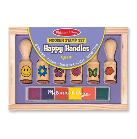 Melissa and Doug, Drewniane Stempelki Happy, 4+, MD12407